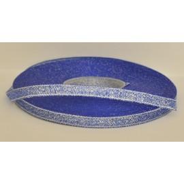 ozdobná stuha brokátová modro strieborná 6mm