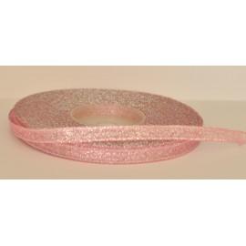 ozdobná stuha brokátová rúžovo strieborná 6mm