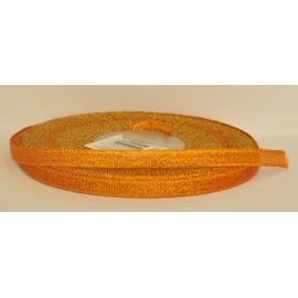 ozdobná stuha brokátová oranžovo zlatá 6mm