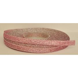 ozdobná stuha brokátová tmavo rúžova strieborná 6mm