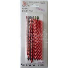 jačmen 9x3,5x3,5mm , červena