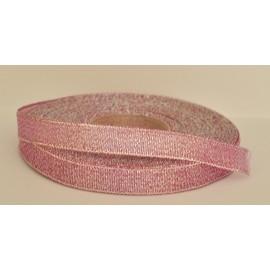 ozdobná stuha brokátová tmavo rúžovo strieborná 12mm