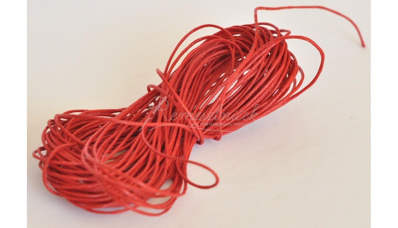 a776b2a939 voskovaná šnúrka 1mm červená - Remeselníček