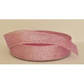 ozdobná stuha brokátová tmavo rúžová strieborná 25mm