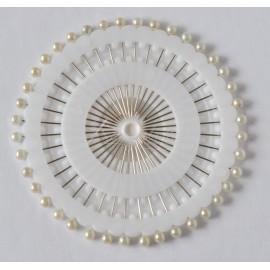 špendlíky 38mm biela perlet