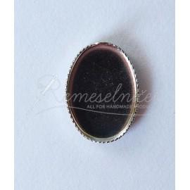 Lôžka pre krištálovú živicu - lôžko ovál 14x10mm, farba platina