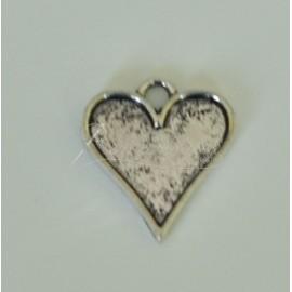 Lôžka pre krištálovú živicu - lôžko srdce 19x19mm, farba platina
