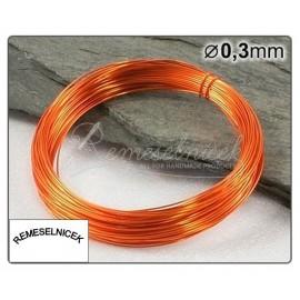 oranžový drôt 0,3mm/5m