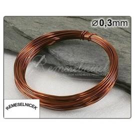 hnedý drôt 0,3mm/5m