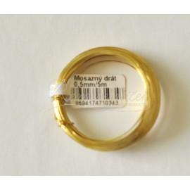 mosadzný drôt 0,5mm/5metrov
