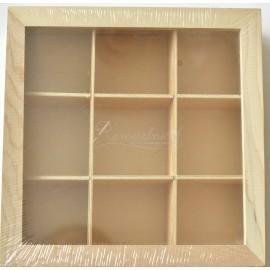 drevená krabička 9 priehradok 24 x 24 x 9 cm