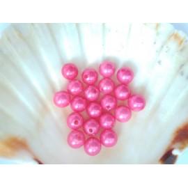 plastové perly 10mm tmavo  ruzove