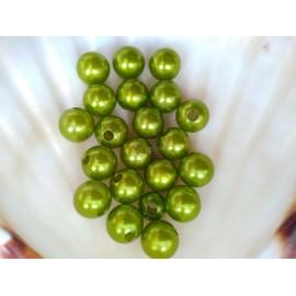 plastové perly 10mm zelene