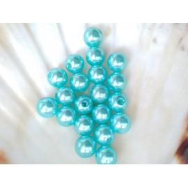 plastové perly 10mm tyrkysové