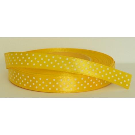 saténová stuha s bodkami žltá 12mm