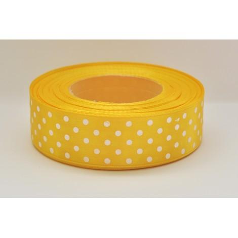 saténová stuha s bodkami žltá 25mm