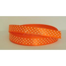 satenová stuha s bodkami 12mm oranžová
