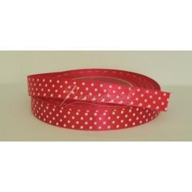 satenová stuha s bodkami 12mm červeno rúžová
