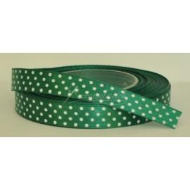 satenová stuha s bodkami 12mm  tmavo zelená