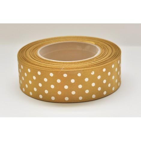 satenová stuha s bodkami 25mm  zlatá