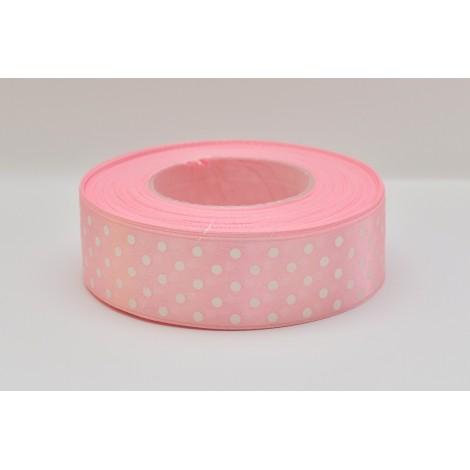 satenová stuha s bodkami 25mm  bledo rúžová