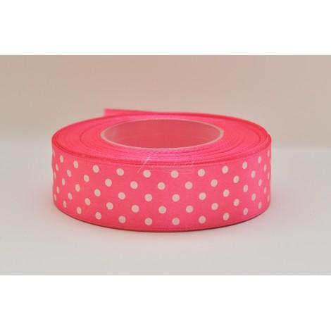 satenová stuha s bodkami 25mm  rúžová
