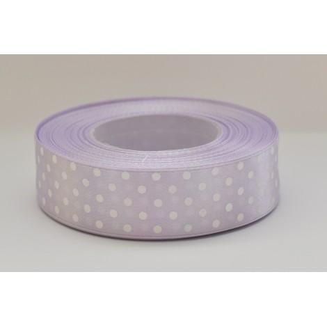 satenová stuha s bodkami 25mm  bledo fialová