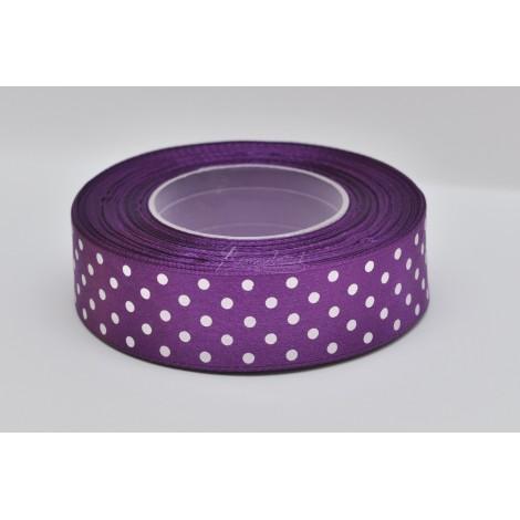 satenová stuha s bodkami 25mm fialová
