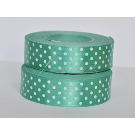 satenová stuha s bodkami 25mm zelená