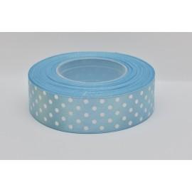 satenová stuha s bodkami 25mm  bledo modrá