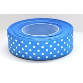 satenová stuha s bodkami 25mm modrá