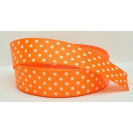satenová stuha s bodkami 25mm  oranžová