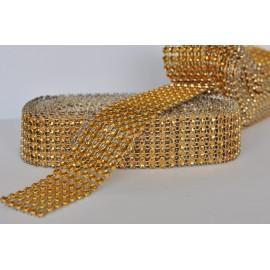 štrasová stuha 25mm zlatá