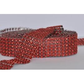 strasová stuha 30mm červená