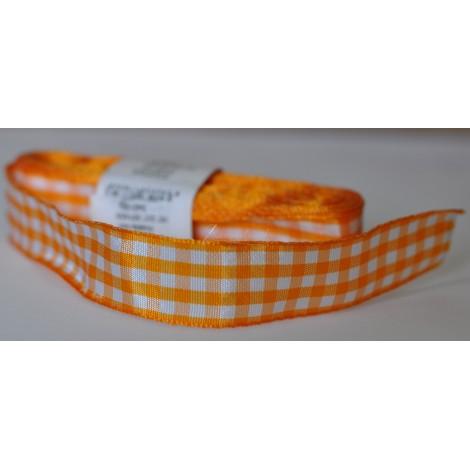 károvaná stuha 25mm oranžová